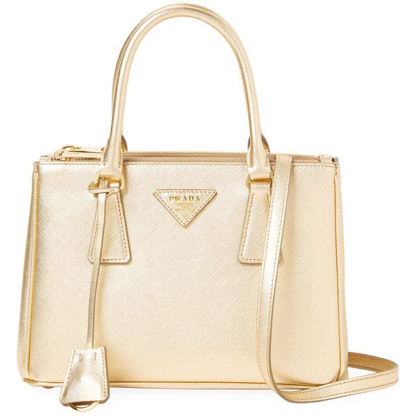 Prada Women's Galleria Double Zip Small Saffiano Leather Tote - Gold ($1,539) ❤ liked on Polyvore featuring bags, handbags, tote bags, gold, prada tote bag, gold tote, convertible tote, white tote and large zip tote bag