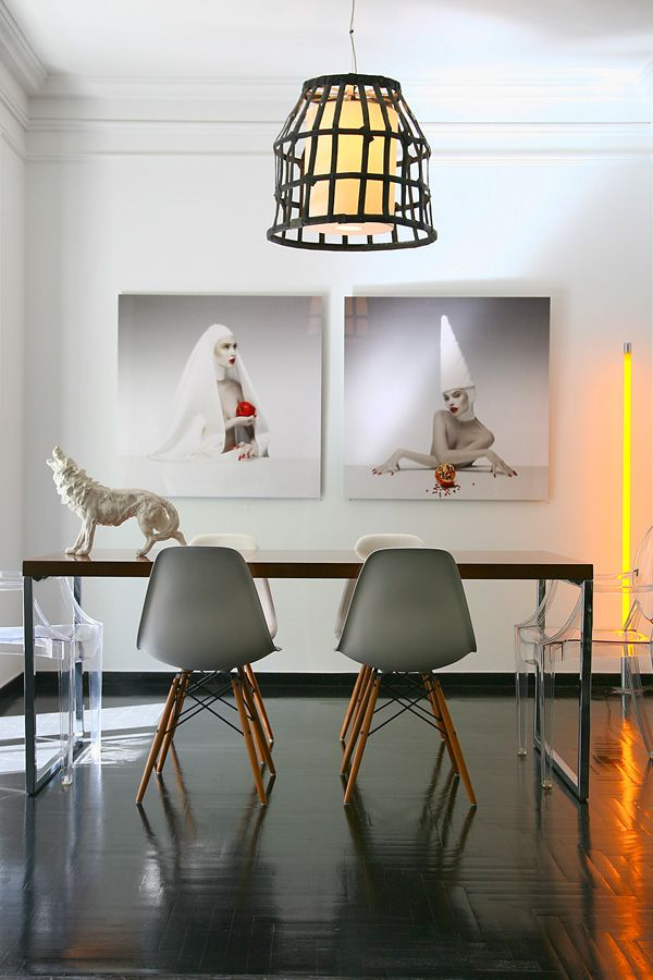 Apartment in Athens, dinning room, design, Eames chairs, art, Divercity architects