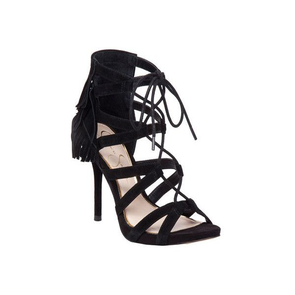 Women's Jessica Simpson Bregan Cage Shoe - Black Lux Kidsuede Casual (67 AUD) ❤ liked on Polyvore featuring shoes, black, casual, high heels, kohl shoes, fringe shoes, lace up high heel shoes, caged shoes and black cage shoes