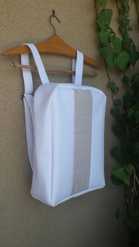 Minimal backpack from linen and vegan leather  by GloopCreations