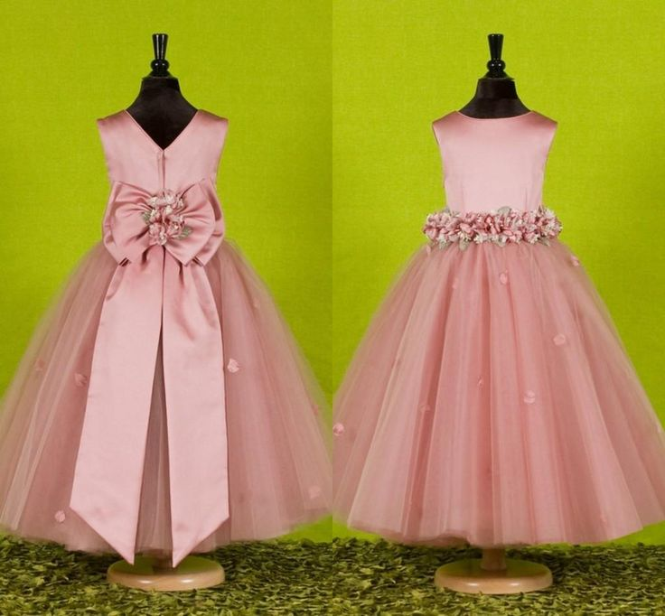 Custom Made Beautiful Pink Flower Girls Dresses For Weddings 2015 Pretty Formal Girls Gowns Cute Satin Puffy Tulle Pageant Dress Spring Flower Girl Gowns Girls Dresses Size 12 From Eiffelbride, $43.98| Dhgate.Com