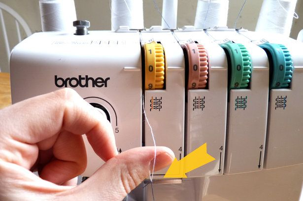 [A Quicker Way to Change Your Serger Thread Color] (Changing your overlocker threads colours quickly) http://www.burdastyle.com/techniques/a-quicker-way-to-change-your-serger-thread-color