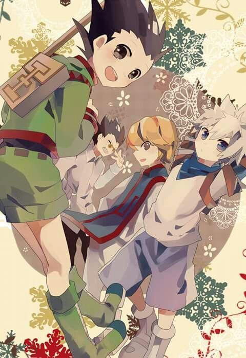 Gon, Killua, Kurapika and Leorio in HunterxHunter chibi version