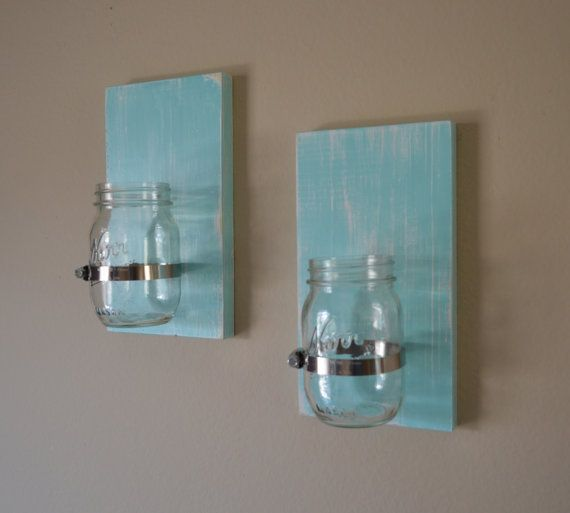 Set of 2 Shabby chic rustic style handcrafted wooden wall sconce for candles, flowers, household storage, etc with mason jar