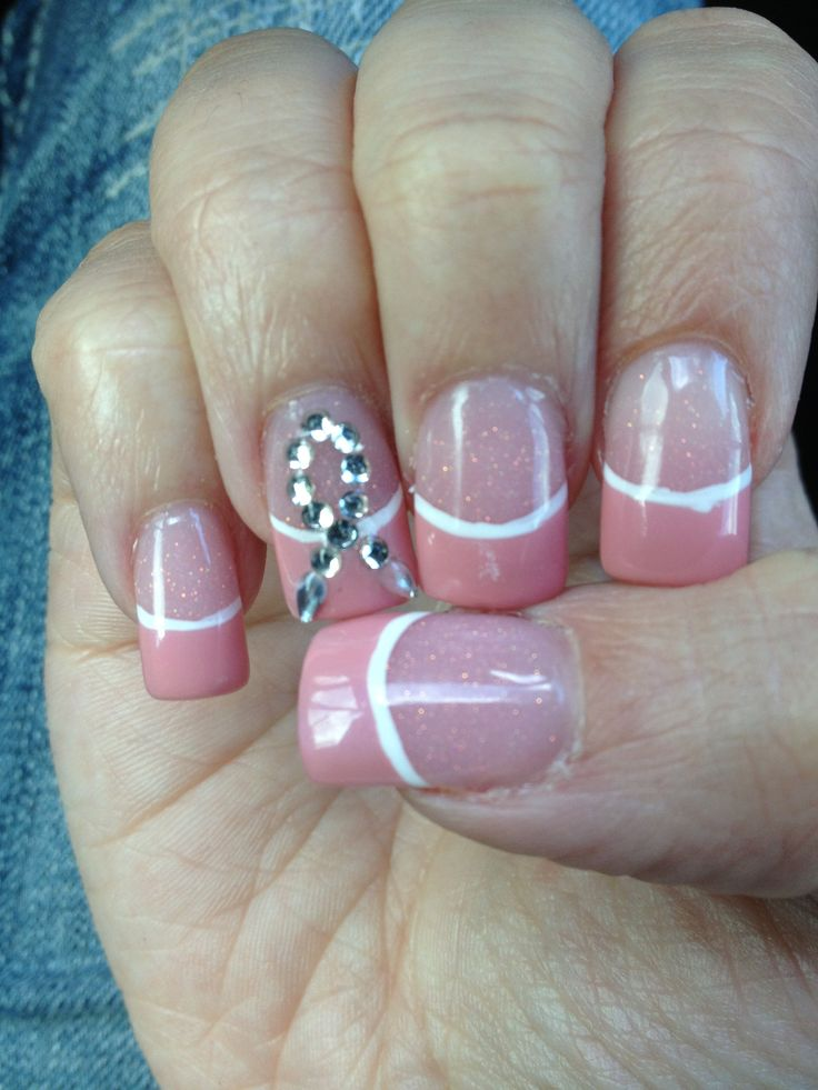 Breast cancer awareness nails with bling