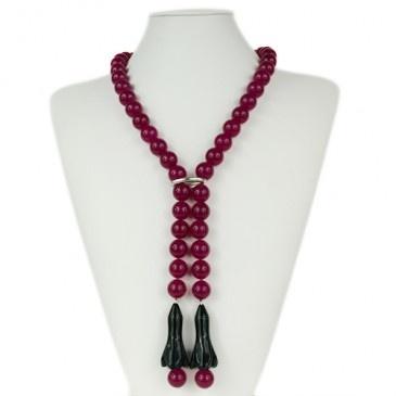 Collana lunga a sciarpa di Agata rossa e Ossidiana 80cm £85