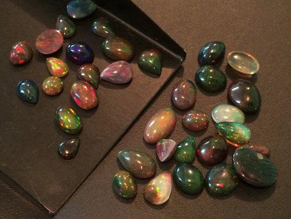 Black Opal Cabochons Ethiopian Welo Black Opal by gemsforjewels