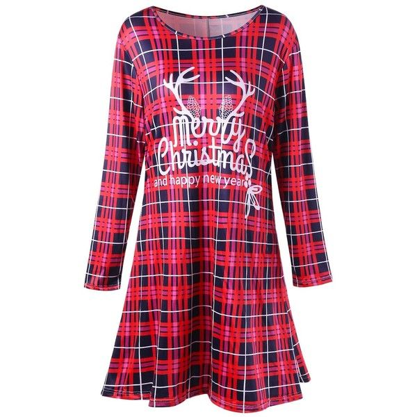 Christmas Plus Size Plaid Swing Mini Dress ($14) ❤ liked on Polyvore featuring dresses, plaid dress, women plus size dresses, christmas dresses, short dresses and plus size christmas dresses