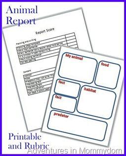 animal report printable and rubric