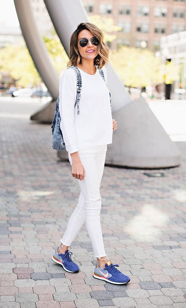 Girly Sneakers Outfit Idea - it gives a nice twist all white with bold colour trainers I would wear slightly more feminine top