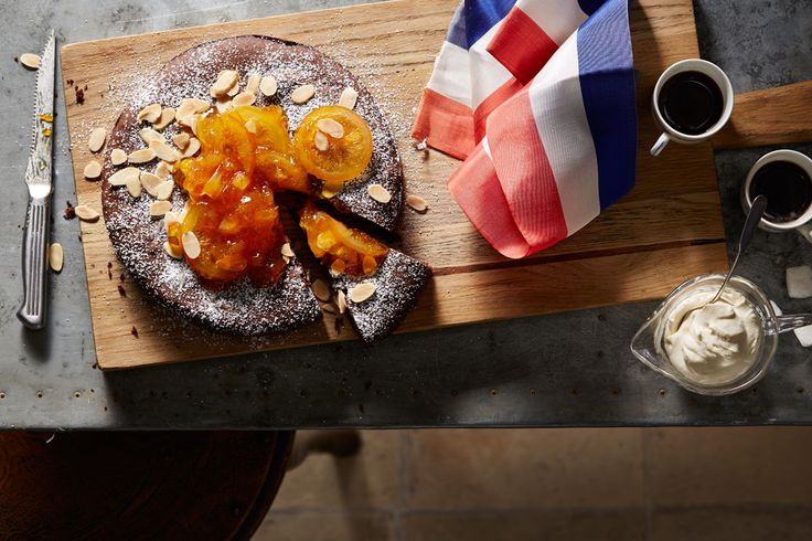 Chocolate cake from the French town of Nancy from Gabriel.  Served with cream with  a beautiful marmalade.