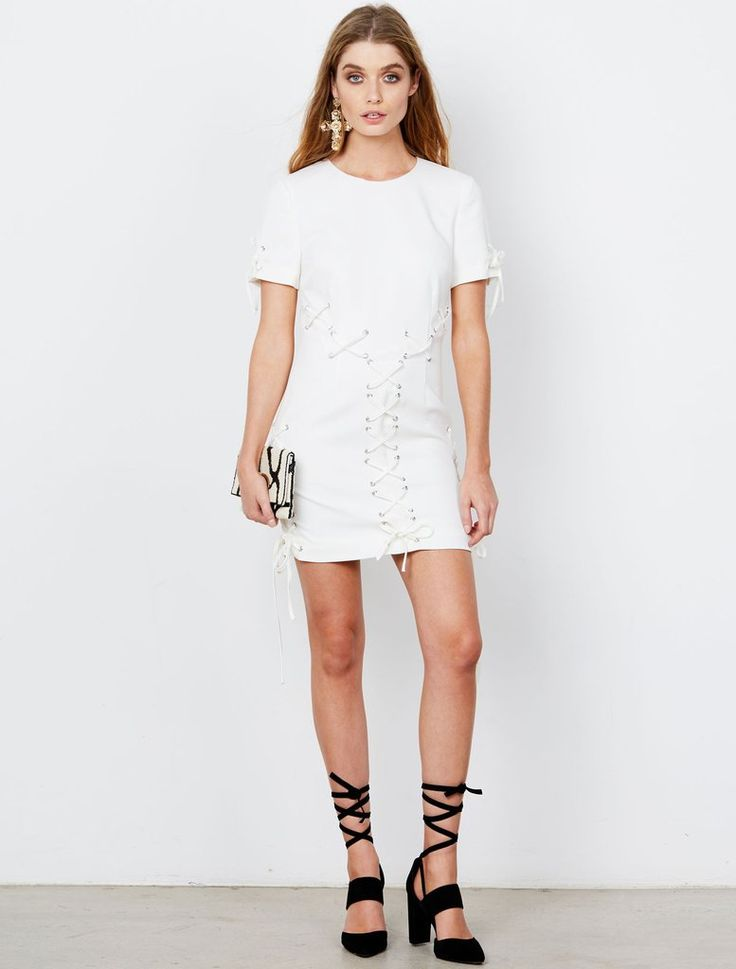 ISLA  - Lace Up Mini Dress - White