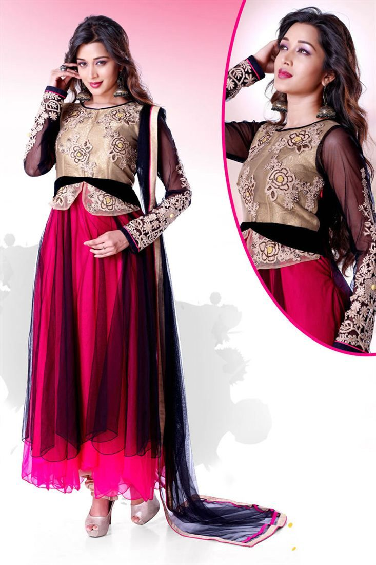 Enticing Net Readymade Embroidered Anarkali - $122.76
