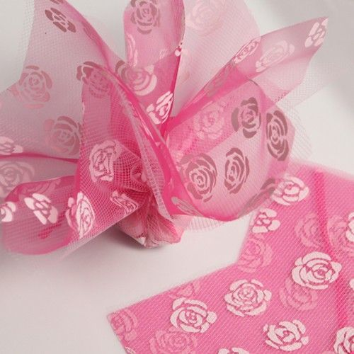 """""""Roses"""" Hot Pink Double Layer Tulle 13"""" (Pack of 2)"""