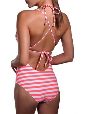Women Sexy Deep V One Piece Front Hollow Out Cross Straps Stripe Swimsuit at Banggood