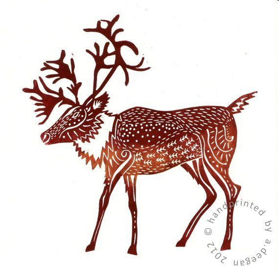 Original lino cut print Caribou - Mulled Wine £17.00