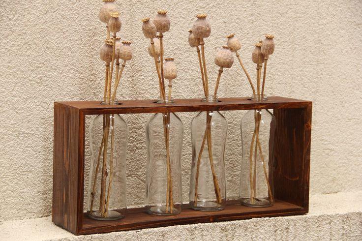 DIT  Glass Bottle & Wood Vase Recyhle