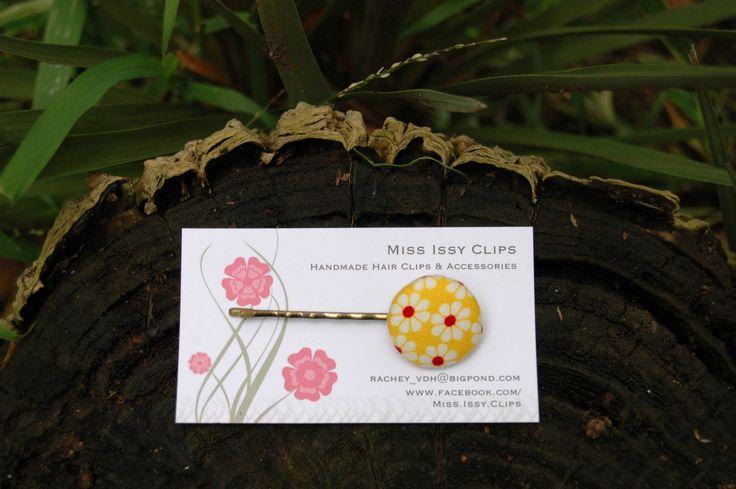 Yellow Button hair pin