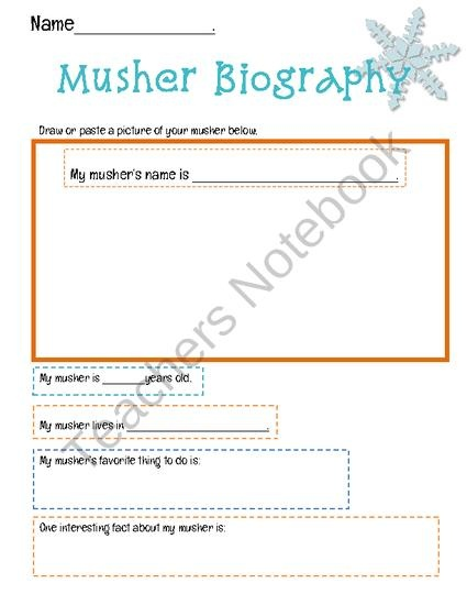 Musher Biography Worksheet Product From Interactive Teaching On TeachersNotebook