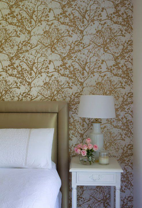Camilla Molders Design: Stunning white and gold bedroom with Ferm LIVING Wilderness Wallsmart Wallpaper in ...