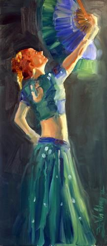 """Original art for sale at UGallery.com   No Belly Dancer by Frederico Valdez   $575   oil painting   22.5"""" h x 10"""" w   http://www.ugallery.com/oil-painting-no-belly-dancer"""