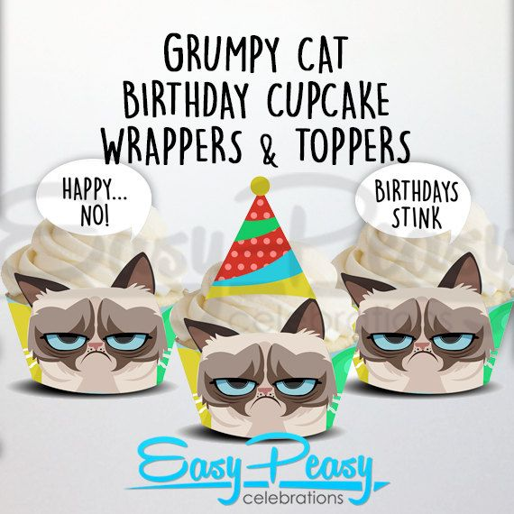 Grumpy Cat Birthday Cupcake Wrappers and Toppers