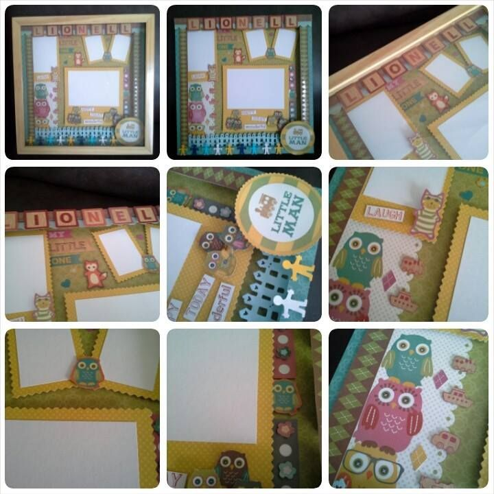 """belongs to Titus 30x30cm birthday scrapbook for baby boy using """"Kidlet"""" from DCWV"""