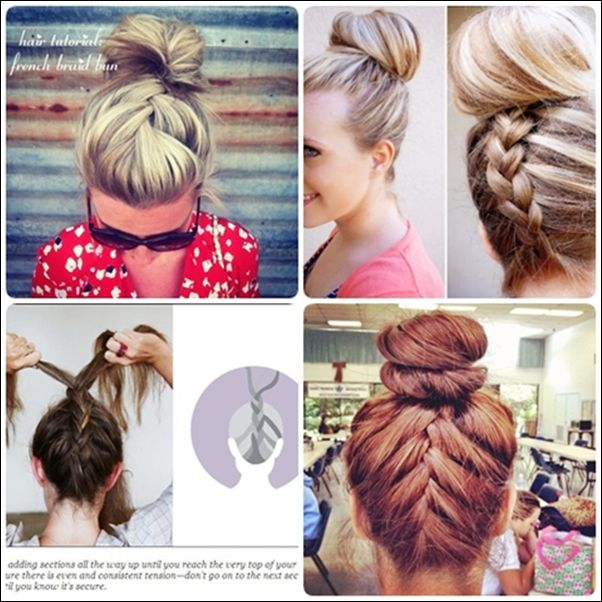Simple Braided Hairstyles For Medium Natural Hair : Learn how to do simple french braid bun updo hairstyles