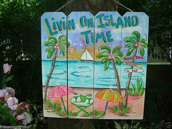 Tropical+Whimsical+Wall+Art+Patio+Tiki+Hut+by+FRANSCOUNTRYNY,+$69.95