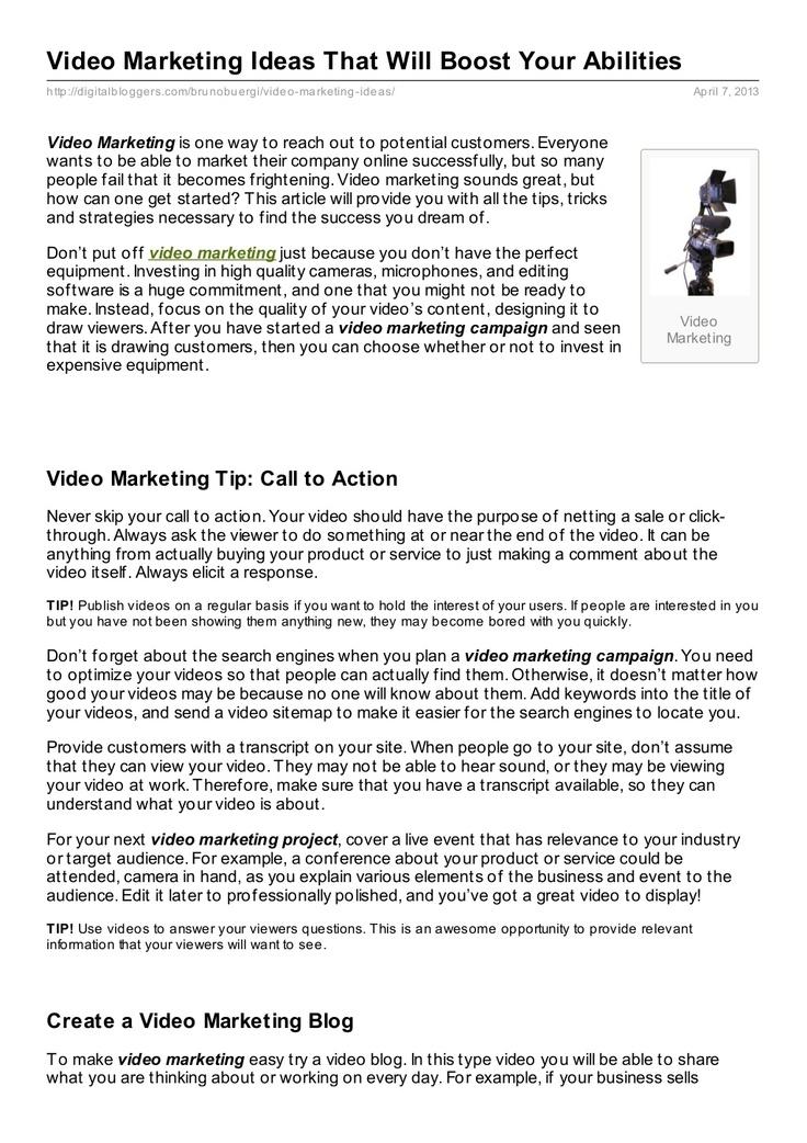digitalbloggerscom-video-marketingideasthatwillboostyourabilities by Bruno Bürgi via Slideshare