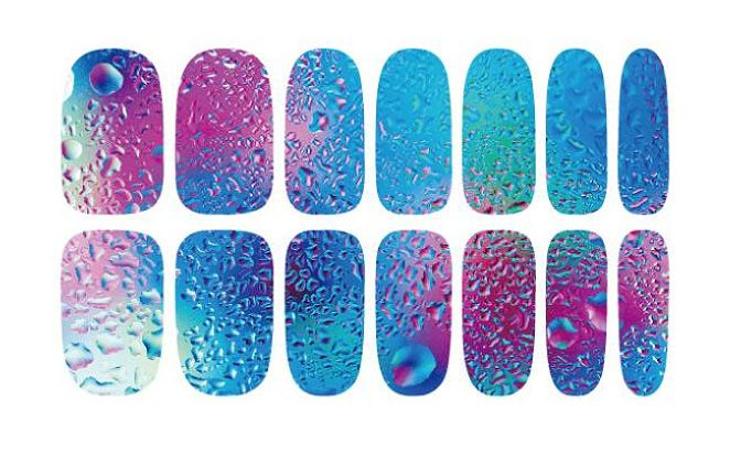 K5640 Fashion Nail Art Stickers Mysterious Blue Ocean Drops Water Transfer Nail Sticker 3d Manicure Minx Nail Wraps Foil Decals