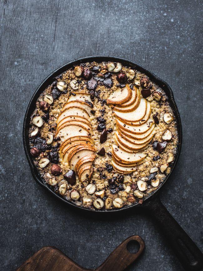 Baked Pear, Hazelnut and Chocolate Oatmeal-6