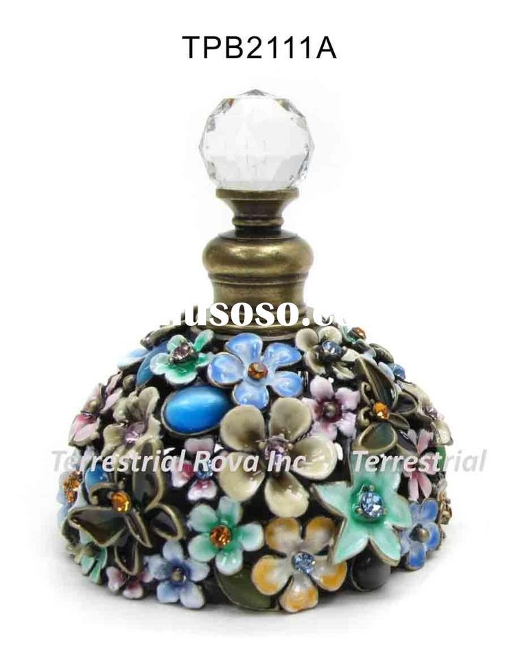 jeweled perfume glass bottle with crystals - moroccan