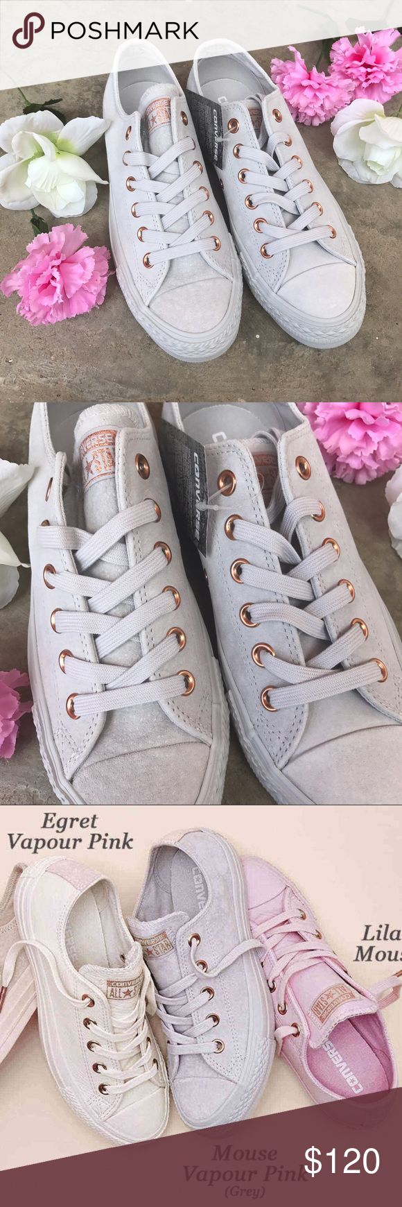 Mouse Vapour Pink Converse Exclusives✨ These beautiful converse are LIMITED AND RARE.    Signature all star low silhouette  Exclusive mouse grey suede upper with vapour pink heel insert  Rose Gold metal eyelets   A MUST HAVE!   Size 7.5 Women's  or 5.5 UK  Converse Shoes Sneakers