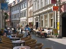 Austrasse in bamberg,Germany with lots of wonderful cafés