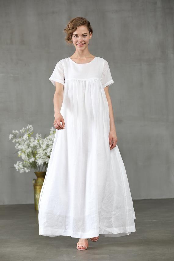 765b65a858 white dress maxi dress linen dress short sleeve dress