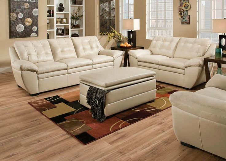 Modern Pearl White Leather Tufted Sofa Couch Loveseat Living Room Part 66
