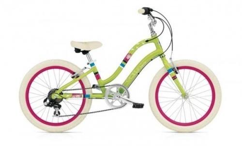 """Electra Townie 7 20"""" jente   Søt 20"""" sykkel for jenter!Sykkelen leveres flatpakket, kun enkel montering gjenstår. Denne sykkelen leveres med 7 gir. Sykkelen leveres med forbrems. Dette er ikke avbildet men alle sykler som leveres til det  europeiske markedet har for og bakbrems som er kravet til sikkerhet.  Ellers er utstyret på sykkelen som avbildet. For mer teknisk informasjon om sykkelen se link til produsenten Electra Bike. Denne sykkelen er bestillingsvare ..."""