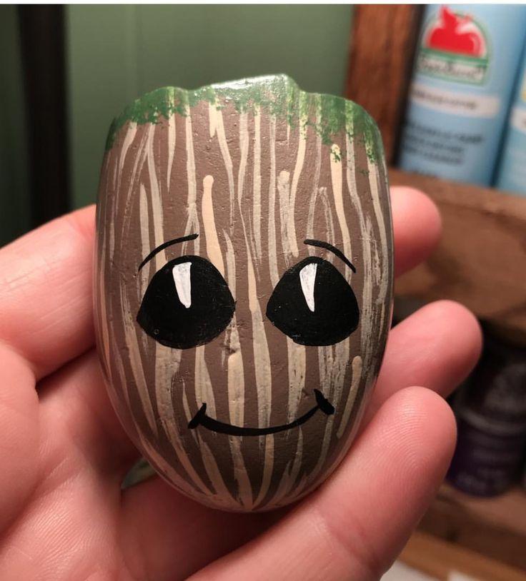 Baby Groot painted rock. So cute!