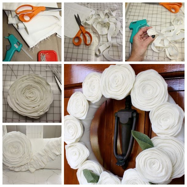 Wonderful DIY Beautiful Felt Flower Pillow And Wreath | WonderfulDIY.com