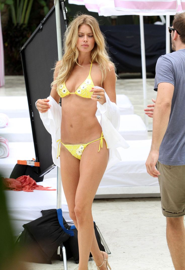 DOUTZEN-KROES-in-Yellow-Bikini-at-Photoshoot-for-Victorias-Secret-in-Miami