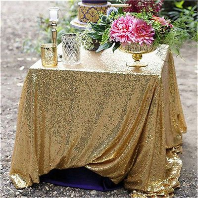 "GOLD 48""*72"" Wedding Party Table Linens Glitter Sparkly SEQUIN TABLECLOTH Event"