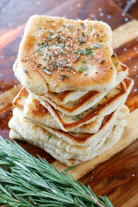 #Bread: The perfect #appetizer or side dish to serve with dinner! This bread is SO quick and easy to whip up. It's lightly fried in olive oil and topped with fresh rosemary and sea salt. The perfect combination.