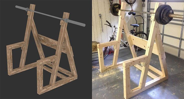 Diy wooden squat rack gym and workout