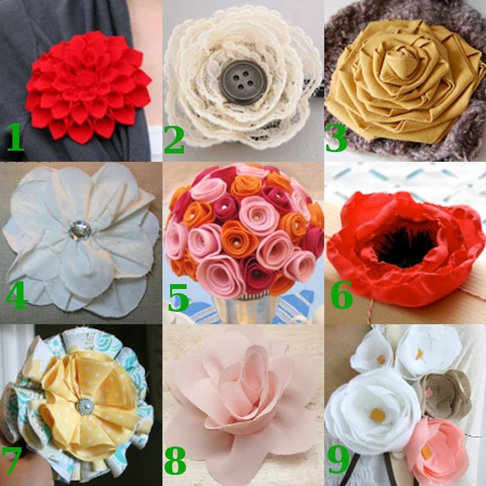 9 ways to make Flowers from Fabric