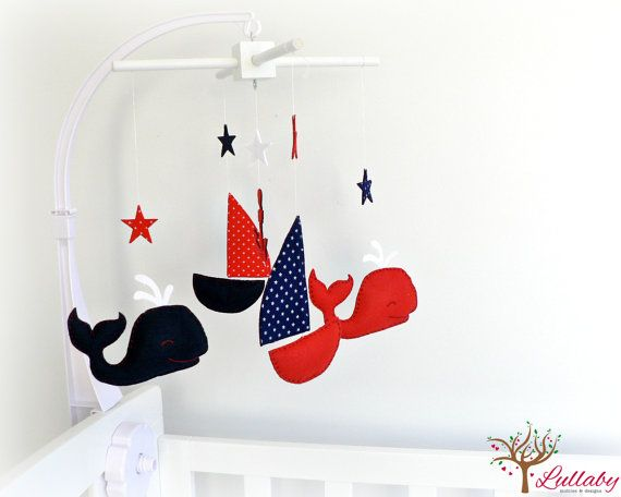 Nautical mobile  Felt whales sail boats stars by LullabyMobiles, $135.00