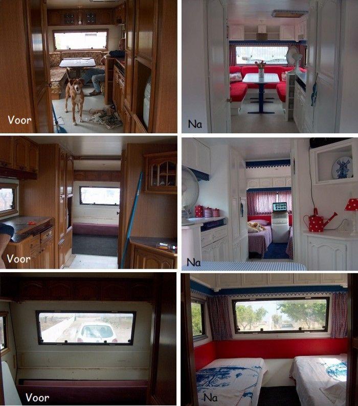 Oude caravan opgepimpt