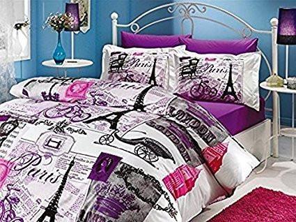 Paris Eiffel Tower Vintage Purple Theme Themed Full Double Queen Size Quilt Duvet Cover Set Bedding