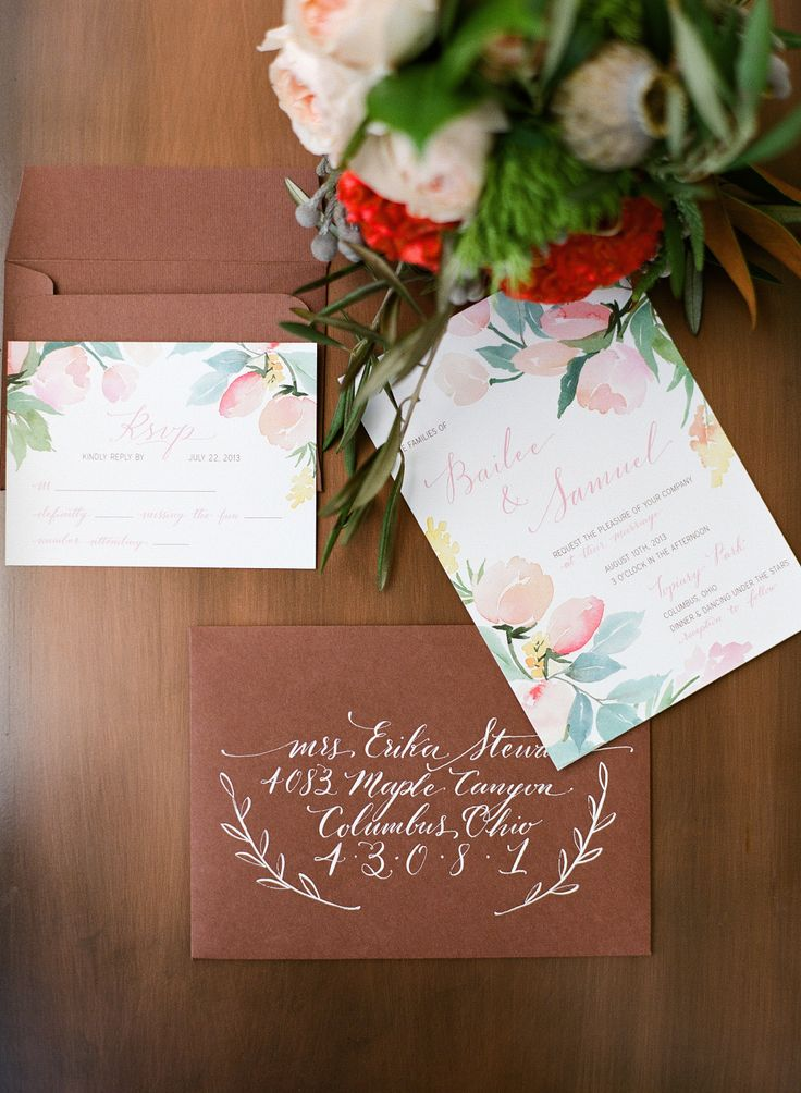 Brown envelopes. calligraphy. Yao Cheng Design. Photography: Benjamin Lowry Photography - benlowryphoto.comRead More: http://stylemepretty.com/2013/10/16/copper-inspired-wedding-shoot/