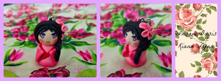 Little charm of my OC Kimiko, made from polymer clay.